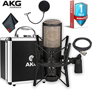 AKG Pro Audio P420 Multi-Pattern Large-Diaphragm Studio Condenser Microphone with XLR Cable, Pop Filter, Shockmount, Carrying Case and 1-Year Extended Warranty