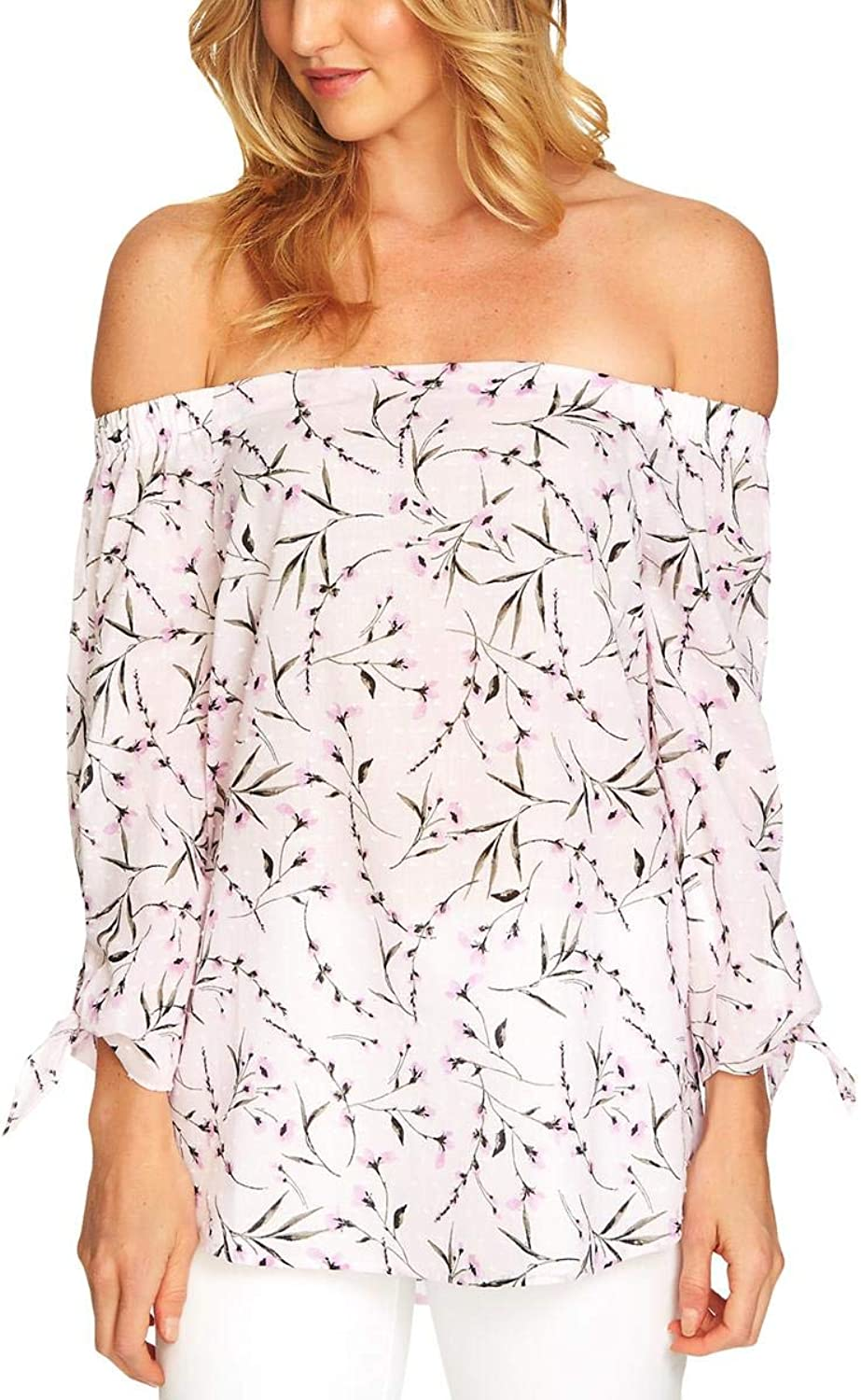 C&E CeCe Womens Frovence OffTheShoulder Floral Print Blouse