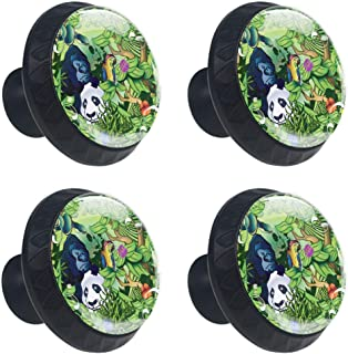 Shiiny Animals in The Jungle Drawer Knob Pull Handle Cabinet Drawer Pulls Cupboard Knobs with Screws for Home Office Cabinet Cupboard DIY (4 Pieces)