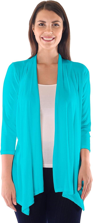 DFF Shop Women's Assymetrical Boyfriend Open 3/4 Sleeve Cardigan (Size: S- 5X)
