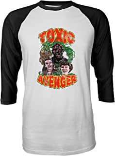 RIVEBELLA New Graphic Shirt Toxic Poster Novelty Tee Avenger Raglan Quarter Sleeve Men's T-Shirt