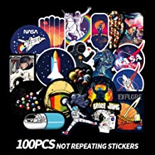 NASA Outer Space Spaceman UFO Laptop Stickers Waterproof Vinyl Astronauts Water Bottle Computer Notebook Skateboard Motorcycle Bicycle Luggage Bike Decal for kids teens100pcs Pack