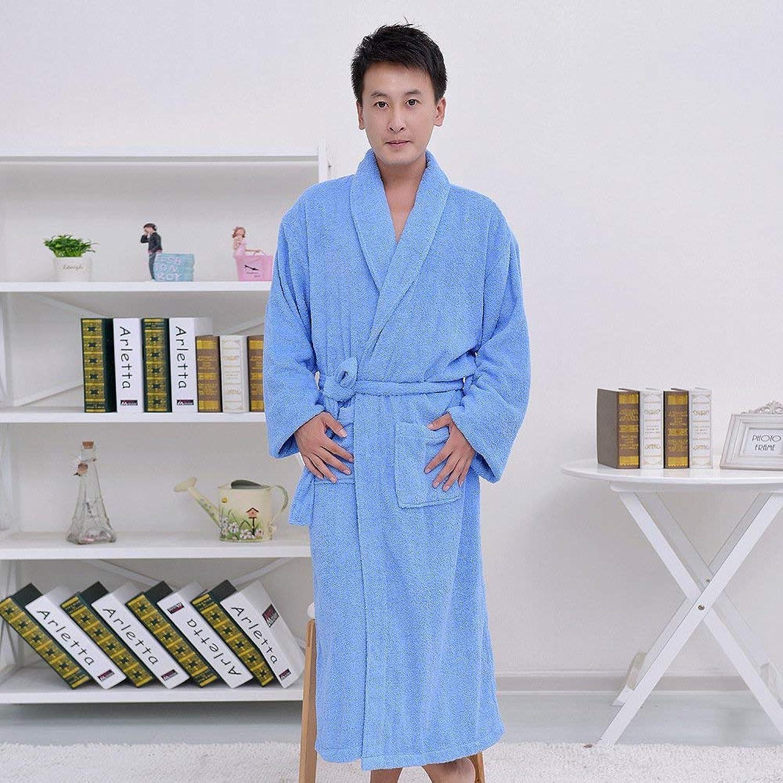 Pyjamas, Cotton Bathrobes, Men and Women, Warm Towel, Bathrobe, Dressing Gown (color   blueee, Size   M) (color   blueee, Size   Medium)