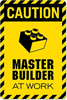 Caution Master Builder at Work Vinyl Decal Wall Decor Print for brickbuilders (Small-7x10.5, DISP)