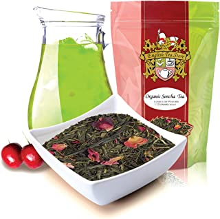 English Tea Store Green Loose Leaf Tea, Organic Sencha Kyoto Cherry Rose Festival, 16 Ounce