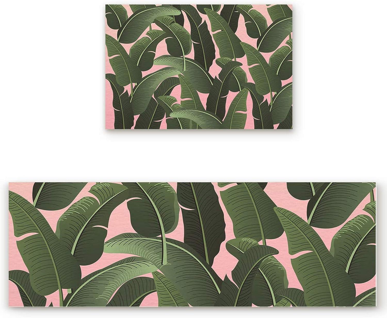SODIKA 2 Pieces Kitchen Rug Set,Non-Skid Slip Washable Doormat Floor Runner Bathroom Area Rug Carpet,Tropical Plants (19.7x31.5in+19.7x63 inches)