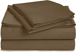 Chateau Home 500 Thread Count 100% Egyptian Cotton Sheets Set Queen-Sheets, 4-Piece Long-Staple Combed Cotton Best-Bedding Sheets for Bed, Deep Pocket Soft & Silky Sateen Weave (Queen, Brown)