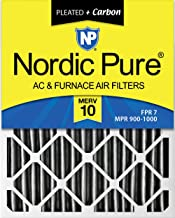 Nordic Pure 15x20x1 MERV 12 Pleated Plus Carbon AC Furnace Air Filters 15 x 20 x 1 Piece