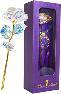 Korlon Rainbow Rose Flowers - 24K Gold Forever Artificial Flower for Mothers Day Flowers with Luxury Gift Box