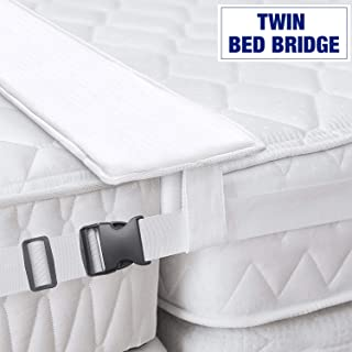 Bed Bridge Twin to King Converter Kit - Bed Doubling System, Mattress Extender Set to Fill in Gap - Memory Foam Filler Pad and Connector Strap - for Guest and Family Room