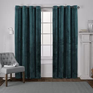 Exclusive Home Curtains Velvet Heavyweight Window Curtain Panel Pair with Grommet Top, 54x96, Teal, 2 Piece