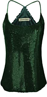 ANNA-KACI Womens Sequin Spaghetti Strap Crop Camisole Tank Top, Matte or Shiny
