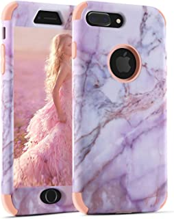 iPhone 8 Plus Case, iPhone 7 Plus Marble Case, for Women, Tobomoco Tri-Layer Slim Soft Flexible Silicone and Hard PC Shockproof Cover for Apple iPhone 7 Plus/8 Plus (Pink + Rose Gold Marble)