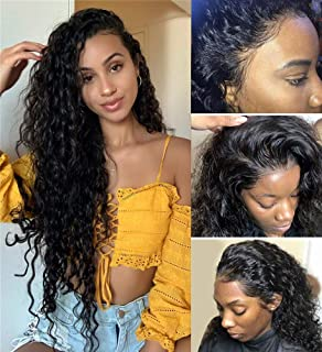 Suerkeep Remy Human Hair Water Wave Wigs Pre-Plucked Glueless Virgin Brazilian 13×4 Lace Front Wigs Water Wave with Baby Hair for Black Women (20inch, Natural Color)