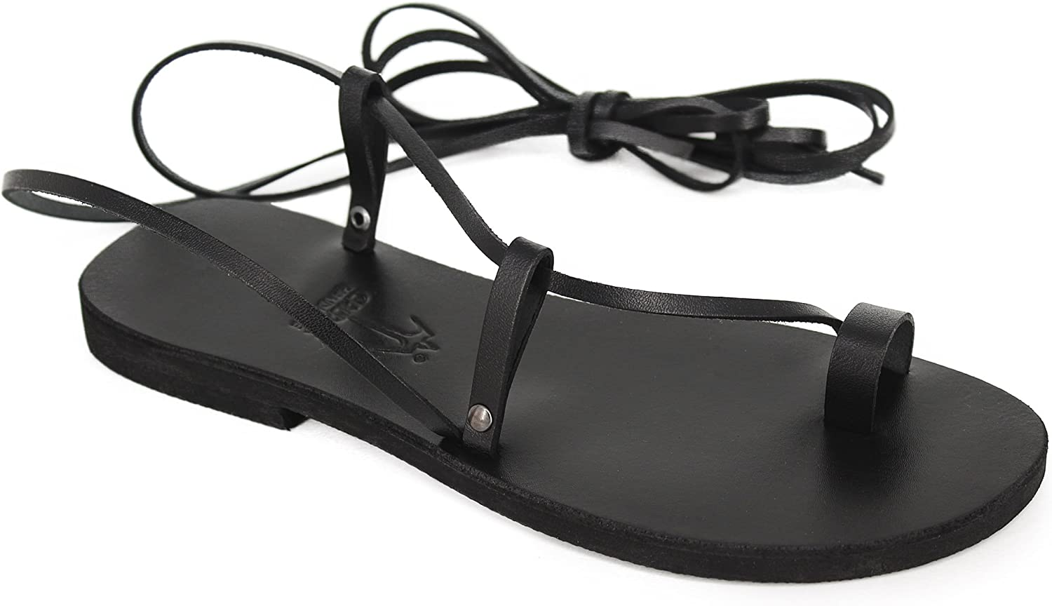 Calpas Barefoot Lace Ups, Toe Ring Stylish Anklet Sandals, Tie up, Wrap up Sandals - Pearl Black