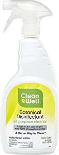 CleanWell Botanical Disinfectant, All Purpose Cleaner Spray - Lemon Scent, 26 FL Ounces - Plant-Based, Botanical, disinfects, deodorizes, Kid Friendly, no Animal Testing, Biodegradable Solution