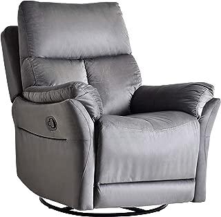 Rocker Recliner Chair, Soft Fabric Swivel Glider Recliner Seat, Over-Stuffed Manual Recliner Sofa for Living Room, Home Theater Seating, Ergonomic Lounge 360 Degree Swivel Rocker (Bluish Gray)