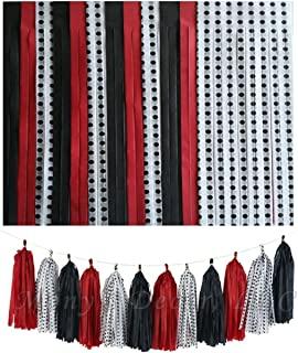 Tassels in RED Black and White with Black Polka DOT Design