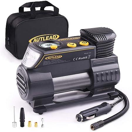Autlead Luftkompressor 12v Dc Tragbar Digitale Auto Luftpumpe Reifen Inflator With Led Taschenlampe 4 Autodüsenadapter Für Auto Fahrrad Ball C2 Auto