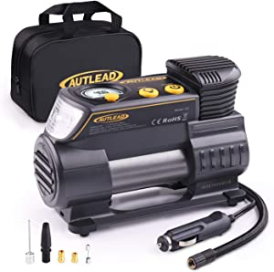 AUTLEAD Tyre Inflator  12V Portable Air Compressor Compact Auto Tyre Pump 120PSI with Digital Gauge  Emergency Light  Fast Inflating for Car  Bicycle  Ball  Balloon