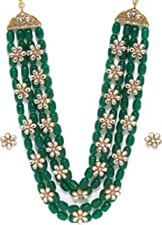 Zaveri Pearls Green Beads & Floral Kundan Necklace Set For Women-ZPFK9098