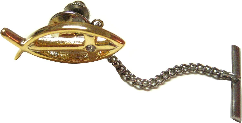 Kiola Designs Gold Plated Ichthys Religious Fish Tie Tack