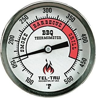Tel-Tru BQ300 Barbecue Thermometer, 3 inch Aluminum Zoned dial, 4 inch stem, 100/500 Degrees F