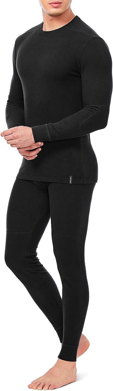 DAVID ARCHY Men's Soft Winter Warm Base Layer Top & Bottom Fleece Lined Thermal Set Long John