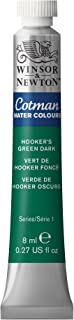 Winsor & Newton Cotman Water Colour Paint, 8ml Tube, Hooker's Green Dark, 8-ml