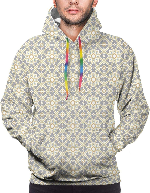 TENJONE Men's Hoodies Sweatshirts,Portuguese Azulejo Tile Inspired Pattern with Ornamental Foliage Pattern