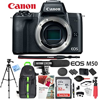Canon EOS M50 Mirrorless Digital Camera Body Bundle with 32GB Memory Card, Dual Battery, Shotgun Microphone, Backpack, Tripod and Accessories (10 Items)