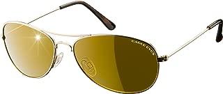 Eagle Eyes Classic Aviator Sunglasses - Stainless Steel Frame (Gold, 54mm), Polarized Lenses