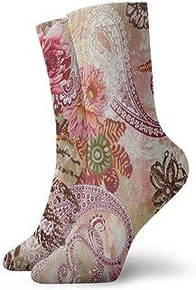 BEDKKJY, Calcetines Deportivos Flores de Acuarela Paisley Personalizado Bota Corta para Hombre Decoración de calcetín Liquidación para niños