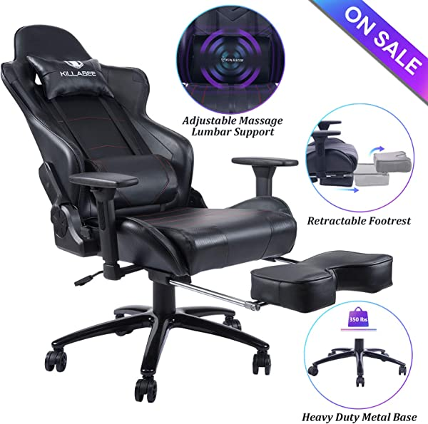 Blue Whale Massage Gaming Chair Big And Tall 350lbs High Back Racing Computer Desk Office Chair Swivel Ergonomic Executive Leather Chair With Footrest And Adjustable Armrests 8280Black