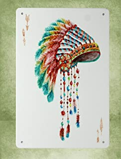 QDTrade Metal Sign 8 x 12inch - Family Wall Art Aboriginal First Nation Feather Headdress Metal Sign