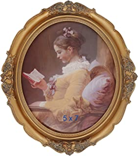 Simon's Shop 5x7 Picture Frame Baroque Oval Frame 7 x 5 Wedding Picture Frames Fit Picture 5 by 7 in Gold for Wall and Tab...