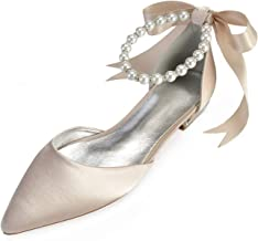 LLBubble Women Comfort Flat Satin Pearls Wedding Bridal Shoe Pointed Toe Ankle Strap Prom Evening Party Pumps 5047-37