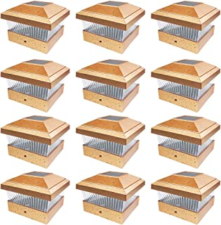 iGlow 12 Pack Copper Outdoor Garden 5 x 5 Solar LED Post Deck Cap Square Fence Light Landscape Lamp PVC Vinyl Bronze