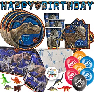 Jurassic World Dinosaur Fallen Kingdom Birthday Party Supplies Pack For 16 With Jurassic World Plates, Napkins, Tablecover...