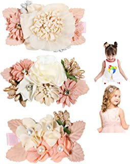 Flower Clip for Baby Girl,Lightweight Pink Floral Hair Bow with Boutique Fully Lined Alligator Accessories for Toddler Tee...