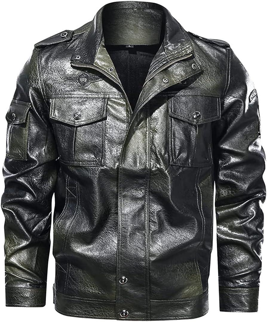 Mens Motorcycle Jacket Faux PU Leather Jackets Casual Embroidery Biker Coat Zipper Fleece Jacket