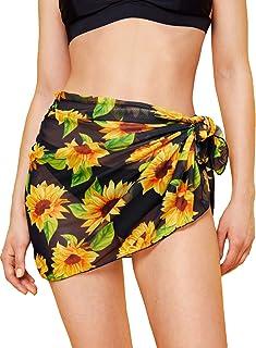 SweatyRocks Women's Short Sarongs Beach Wrap Sheer Bikini Wrap Chiffon Cover Ups for Swimwear