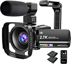 Video Camera Camcorder 2.7K Ultra HD YouTube Vlogging Camera 36MP IR Night Vision Digital Camera Recorder 16X Digital Zoom...