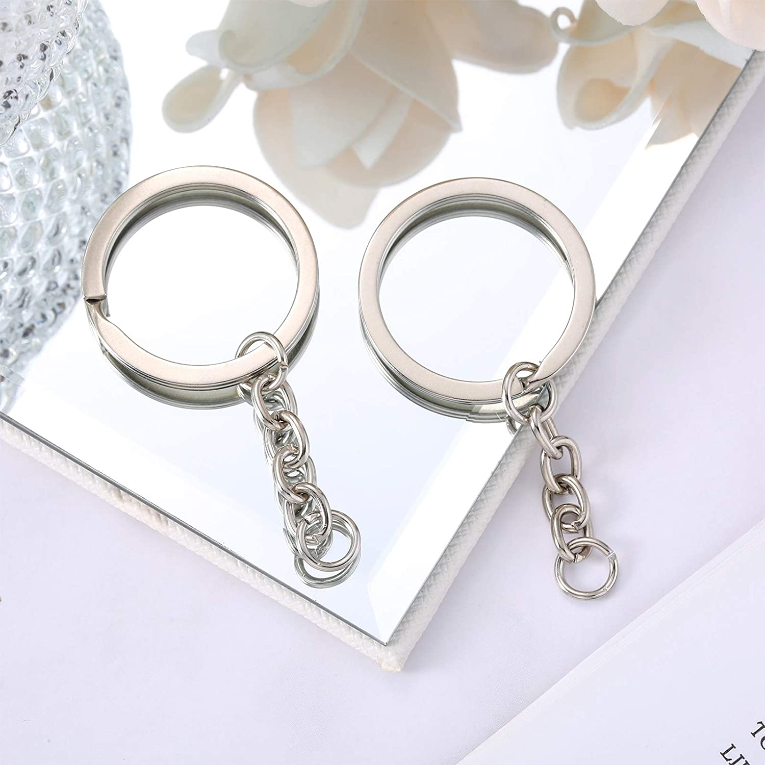 215 Pieces Keychain Rings Set Including 35 Pieces Keychain Rings with Open Jump Rings and 180 Pieces Small Screw Eye Pins for Crafts and Jewelry Making Silver