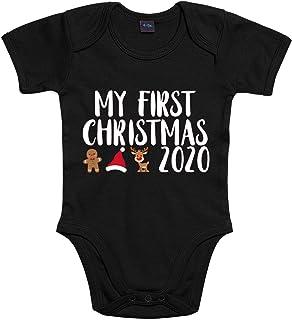 Shirt-Panda Jungen Mädchen Baby-Body  My First Christmas 2020  Winter Weihnachtsbody  Strampler für erstes Weihnachten  Babybody Bedruckt  Weihnachtsstrampler mit Spruch