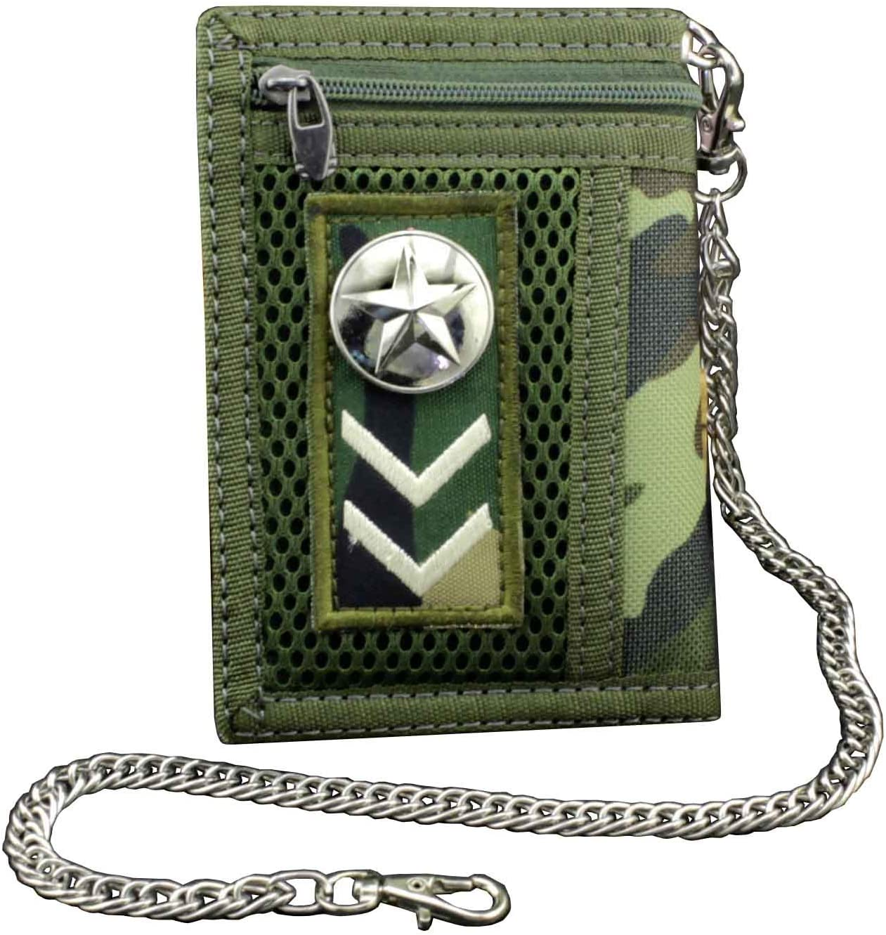 Men/Boy Army fans Star Trifold Wallet Card Holder Purse And Safety Metal Chain