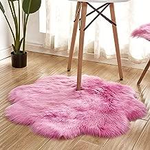 vmree Super Soft Wool-Like Faux Fur Area Rug Fluffy Antiskid Flower Shaped Warm Carpet Mat Baby Nursery Playmat Elegant Living Room Bedroom Hallway Home Office Decor (Hot Pink, 3×3 Ft.)