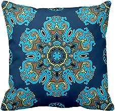 Yaya Cafe 16 x 16 inch Year Gifts Blue Indigo Printed Cushion Cover for Home Sofa