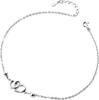 DAOCHONG Heart Anklet for Women S925 Sterling Silver Adjustable Foot Ankle Bracelet