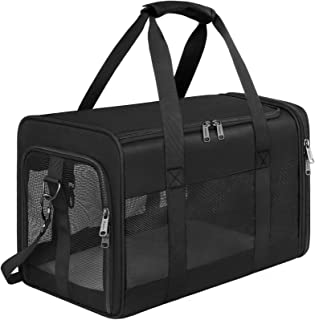 Mancro Pet Carrier Airline Approved, Soft-Sided Pet Travel Bag for Cats with Mesh Windows and Fleece Padding, Collapsible ...